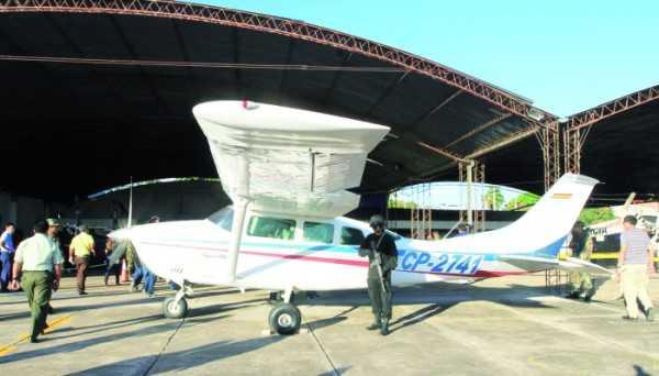 Las investigaciones de la Felcn dan cuenta de que la avioneta tenía que transportar el cargamento de droga posiblemente a Brasil o Paraguay (FOTO: EL PAÍS)