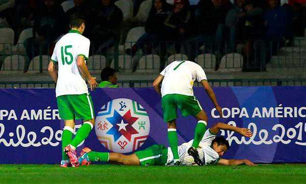 Carlos Saucedo festejando el primer gol convertido en el amistoso ante Chile. (FOTO: INTERNET)