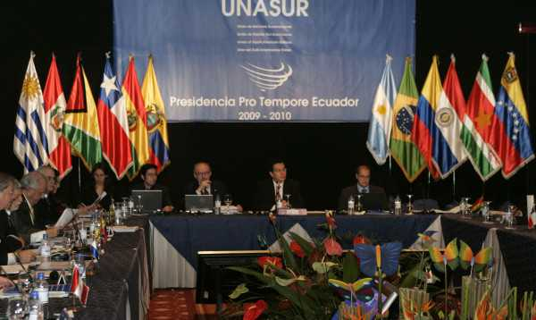 Members and delegates of Unasur, a grouping of South American leaders, attend the 20th Council Members meeting in Quito