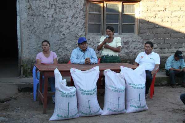 Entrega de semillas en la comunidad de Pananty.