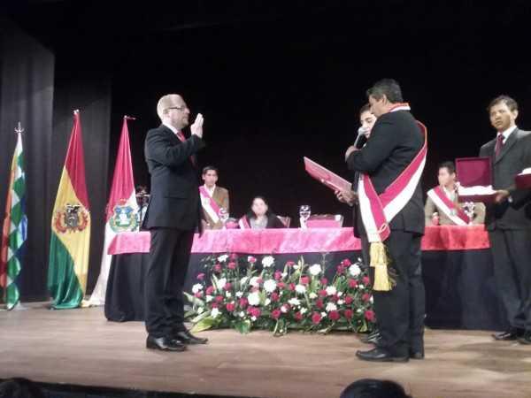 Juramento del Gobernador de Tarija, Adrián Oliva. (Foto: El Chaqueño)