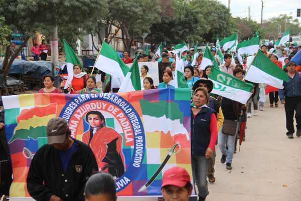 Marcha de las organizaciones sociales afines al MAS. (Foto: El Chaqueño)