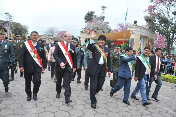 El Presidente Morales participó del acto conmemorativo. (Foto: ABI)