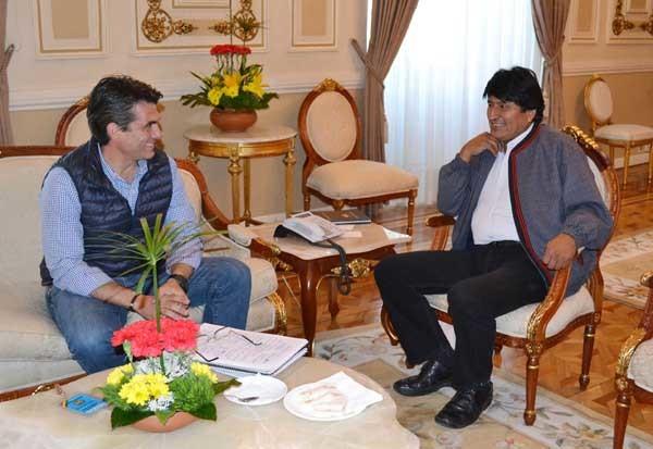 El presidente Morales se reune con el Alcalde de Tarija Rodrigo Paz en palacio de Gobierno. (Foto: ABI)