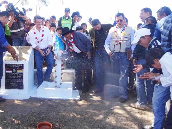 Inauguración del sistema de agua potable en San Andrés. (Foto: ABI)
