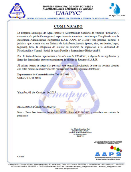 Comunicado EMAPYC 01-10-2015