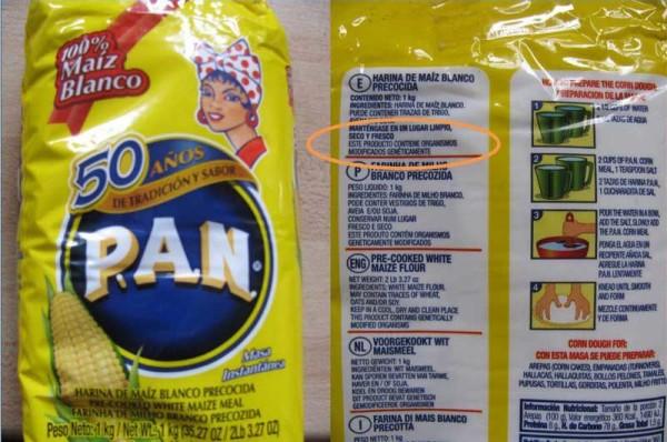 Etiqueta de alimentos con productos transgénicos. (Foto referencial)