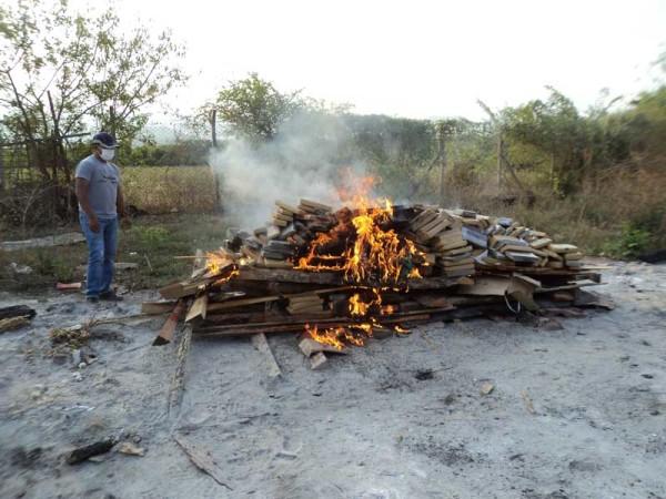 Incineración de droga en el cuartel de UMOPAR-SUR. (Foto: El Chaqueño)