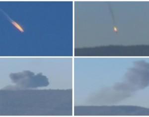 El avión militar ruso cae en llamas luego de ser atacado por milicianos turcos al sur del país en la frontera turco-siria. (Foto: Reuters)
