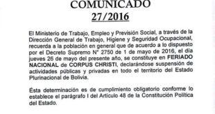 MINISTERIO DE TRABAJO RATIFICA FERIADO DE CORPUS CHRISTI