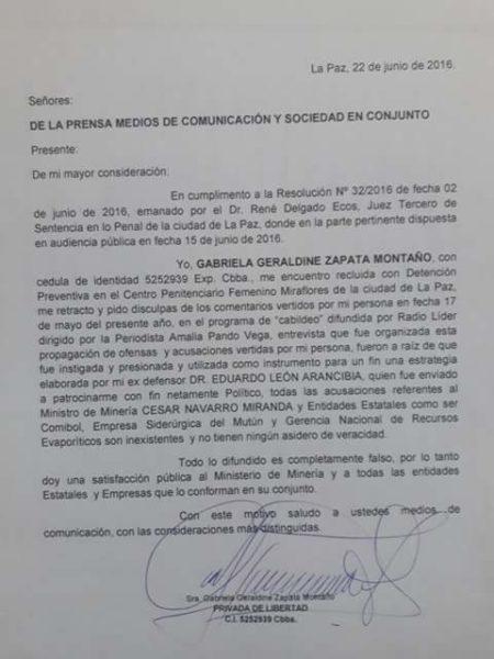 Carta de Gabriela Zapata