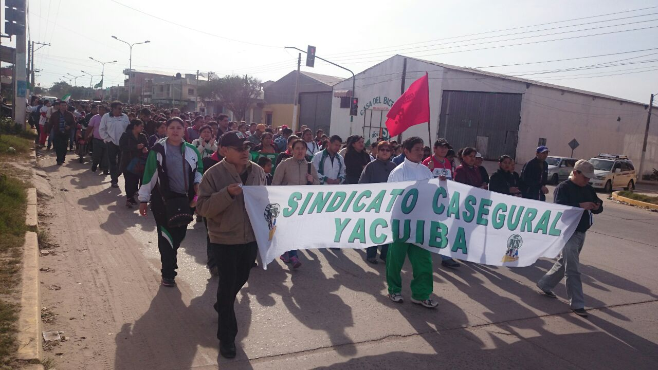 Marcha convocada por la COR en Yacuiba. (Foto: elchacoinforma.com)
