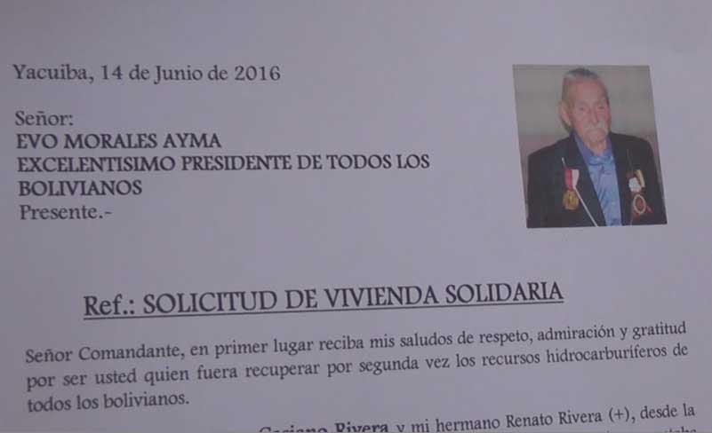 Carta presentada al presidente Evo Morales. (Foto: elchacoinforma.com)