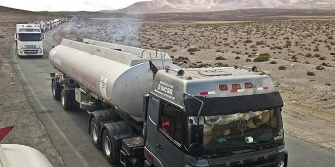 Cientos de camiones bolivianos perjudicados por paro en Chile. (Foto de archivo -Los Tiempos)