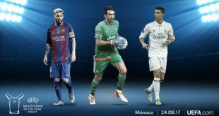 BUFFON, MESSI Y RONALDO SON LOS CANDIDATOS A MEJOR JUGADOR DEL AÑO DE LA UEFA